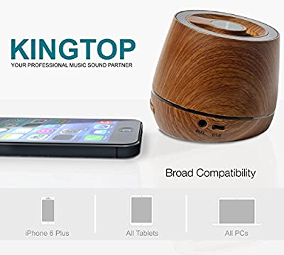 Kingtop Portable Bluetooth Speakers with Unique Wooden Appearance Powerful Sound Speakers for Iphone Ipad Android