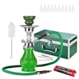 Shisha Hookah Taffstyle® Set With Case 2 Go To Go Ideal For Travel And Move Accessories Hose With Mouthpiece Tongs And Coal Charcoal 1 Roll With 10 Pieces - Green
