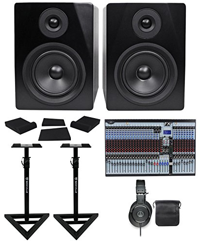 Package: Peavey FX2 32 32x4x2 Professional Mixer w/ 2 USB Ports + Pair of Dual DSP FX Engine + Studio Monitor Speakers + Studio Monitor Headphones + TS Cable + Monitor Stands + Monitor Isolation Pads (Audio Engine Studio Monitors compare prices)