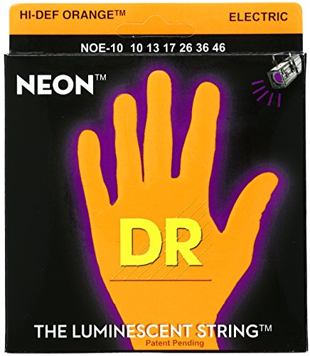 Dr Strings Noe-10 Coated Nickel Hi-Def Orange Electric Guitar Strings, Medium