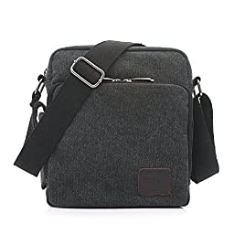 MiCoolker(TM) Multifunction Versatile Canvas Messenger Bag Handbag Crossbody Shoulder Bag Leisure Change Packet Black