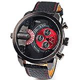 Oulm 腕時計 メンズ ウオッチ 2ヶ国時刻表示 男性用 腕時計   カジュアルデザイン スポーツ腕時計 誕生日プレゼント ギフト ブラック