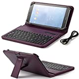 (ONLY 7 INCH) HP,Samsung,LG,RCA,Google,Nextbook,IRulu,Fire 2015 2016,Verizon,AT&T,Kindle ,Universal Android tablet Wireless Bluetooth keyboard case With Folio Leather Case Stand Cover (PURPLE)
