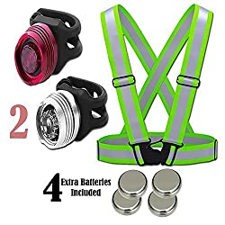 Reflective Vest (1 Pack) Aluminum LED Lights - Features 1 Front & 1 Rear | Lightweight, Adjustable & Elastic | Safety & High Visibility for Running, Jogging, Walking, Cycling | Motorcycle Jacket