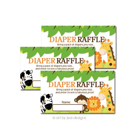 Bright Jungle Safari Baby Shower Diaper Raffle Tickets 20-pack