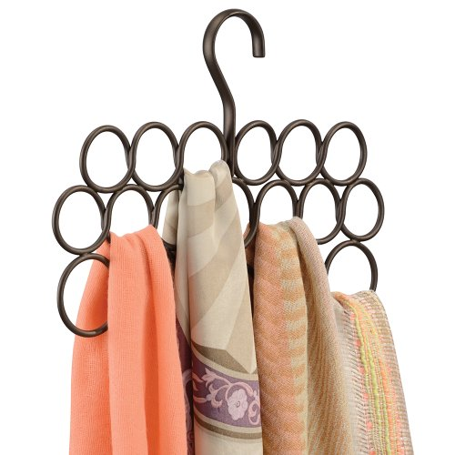 InterDesign Axis Scarf Hanger, No Snag Storage for Scarves, Ties, Belts, Shawls, Pashminas, Accessories - 18 Loops, Bronze