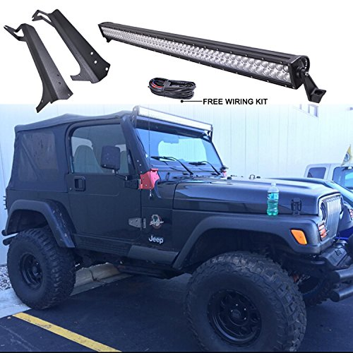 Omotor-1997-2006-Jeep-Wrangler-Sahara-Rubicon-Tj-50-LED-Light-Bar-Windshield-Mounting-Brackets-and-50inch-288w-Cree-LED-Work-Light-Bar-Free-Wiring-Kit