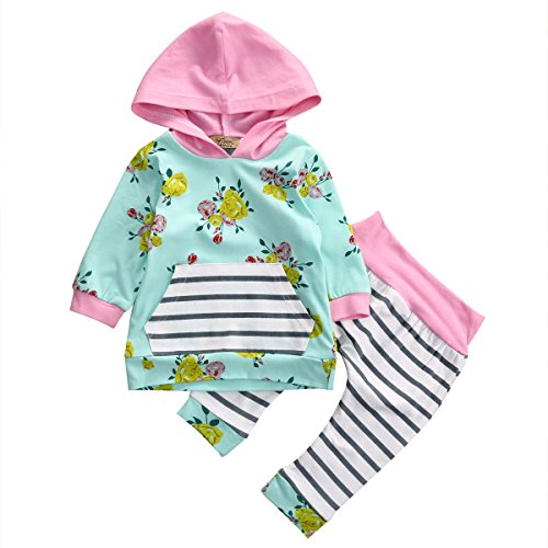 Baby Girl 2pcs Set Outfit Flower Print Hooded with Pocket Top+Striped Long Pants (1-2T, Green)