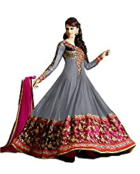 Rajnandini Womens Georgette Unstitched Salwar Suit Dress Material (Joplsashenoagrey _Grey _Free Size)