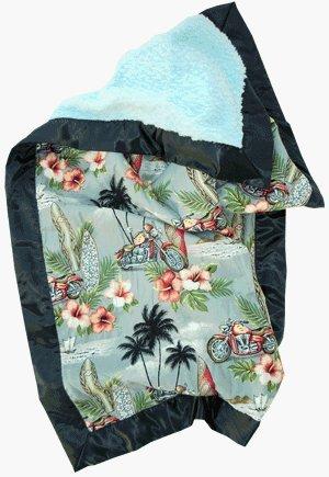 Stroller Blanket In Harlee In Blue Cuddle With Black Satin Trim front-782477