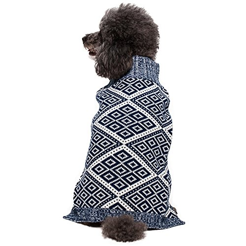 Blueberry Pet Dog Sweater with Blue and White Diamond Pattern, Back Length 16