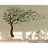 Popdecors - Tree Blowing in the Wind (Brown & Green - 83inch H) - Beautiful Tree Wall Decals for Kids Rooms Teen Girls Boys Wallpaper Murals Sticker Wall Stickers Nursery Decor Nursery Decals Pt-0181