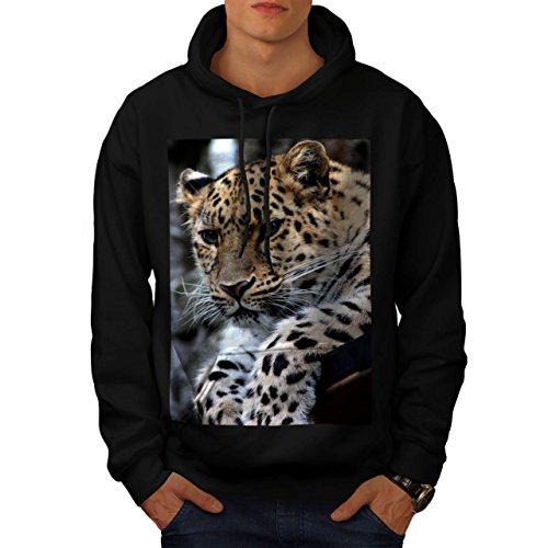selvaggio Leopardo Guarda Pantera Uomo Nuovo Nero XXXXXL Felpa Con Cappuccio | Wellcoda