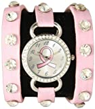 Breast Cancer Awareness Wrap Around Watch w/ Sparking Crystal Rhinestones Face Bling Pink Ribbon