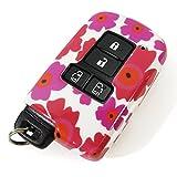 エスクァイア スマートキーケース トヨタ カバー 専用設計 スマピタ ハードケース 花柄4 ホワイト×ピンク