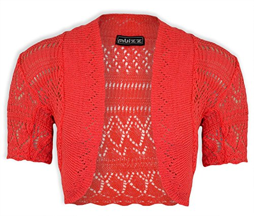 Janisramone donne Scrollata di spalle bolero lavorato a maglia crochet cardigan In alto dimensioni 8-24