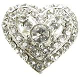 Maaria B's Accessories Silver Diamante Rhinestone Flower Brooch Broach Pin Costume Jewellery