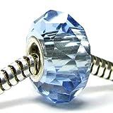 Queenberry Sterling Silver Crystal Aquamarine Blue for Pandora Troll Chamilia Biagi European Bead Charm Bracelets Birthstone March