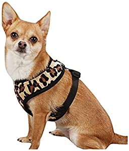 East Side Collection Polyester Plush Leopard Print Dog Harness, Large