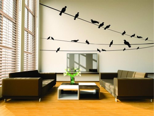 Design with Vinyl Design 250 Removable Wall Decal - Birds On Three Wires, 50-Inch By 22-Inch, Black