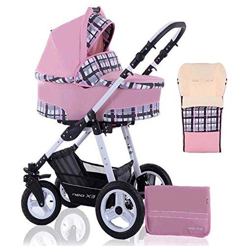 2 in 1 Kinderwagen Neo X3 - Kinderwagen + Sportwagen + Fußsack + GRATIS ZUBEHÖR in Farbe Pink-Groß Kariert