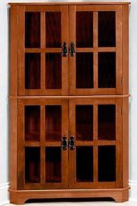 "Craftsman 36""w Corner Cabinet With Glass Doors, GLASS 36""W, DARK OAK"