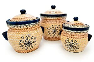 pottery fall moon large canister set
