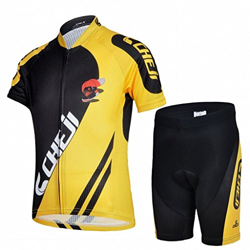 Amigo Unisex Kids Cycling Jersey Set (Short Sleeve Jersey + Padded Shorts), Black Yellow, 9-11 Years (Manufactory Size XXL) (Girls Cycling Jersey compare prices)
