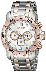 Invicta Men's 13672 Pro Diver Chronograph Silver Dial Two Tone Stainless Steel Watch
