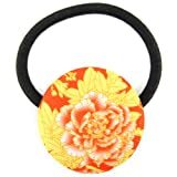Peach Orange Summer Yellow Floral Bloom Printed Silk Screen Woven Fabric Covered Button Hair Elastic