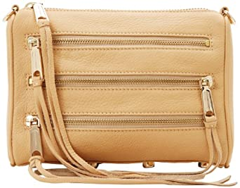 Rebecca Minkoff Mini 5-Zip Convertible Cross-Body Handbag,Sand,One Size
