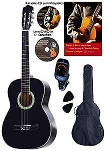 Konzertgitarren-Set, schwarz, Lern DVD, Karaoke CD, Songbook, gepolsterte Tasche, Plectren, Fichte, Rosenholz, Stimmgerät von Hersteller Streetlife-Studios e.K.