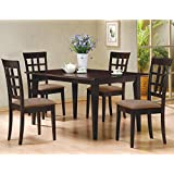 5 PC Espresso Brown 4 Person Table and Chairs Dining Dinette - Beige Chair Waffle Back 150242