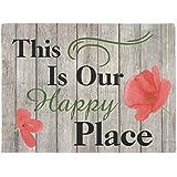 """This Is Our Happy Place Poppy Flower Door Mat Doormat 24""""x16"""""""