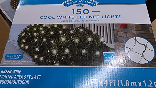 150 Cool White LED Net Lights, Green Wire, 6ft X 4ft Lighted Area, Energy Star