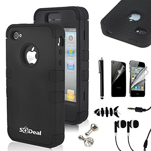 SQDeal Hybrid Hard Case Protective Cover with Touch Stylus Pen, Front Back Screen Protector, Dust Plug, Earphone for iPhone 4/4s - Black (Black Apple Iphone 4 Front Screen compare prices)