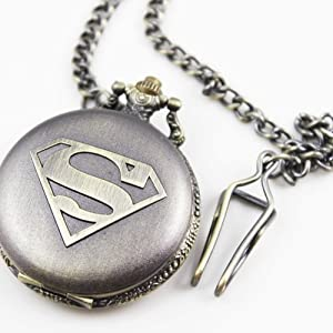 Retro charming men's boy's super man design pocket watch