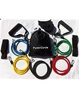Power Cords Resistance Bands - Tubes de résistance pour Pilates, yoga, fitness enrobage 100 % latex naturel - Lot de 11 accessoires et guide d'exercices Produit Columbia-Bookfest PowerCord