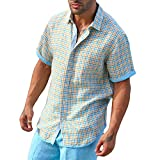 Plaid party lined Aqua short sleeve linen shirt.