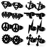 JewelrieShop Lot of 8 Assorted Black Plated Stainless Steel Unisex Body Jewelry Gift Set Stud Earrings, 21 Gauge