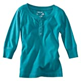 Cherokee® Girls' 3/4-Sleeve Button Up Tee - Teal XS(4-5)