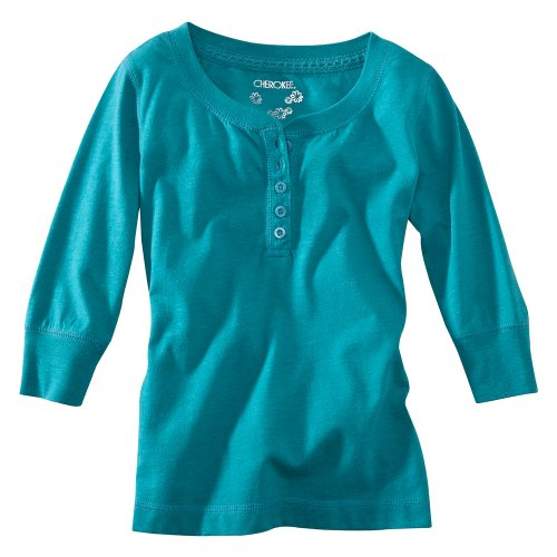 Cherokee® Girls' 3/4-Sleeve Button Up Tee - Teal S(6-6X)