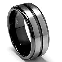 8 MM High Polish / Matte Finish Black Titanium ring Wedding Band sizes 8 to 12