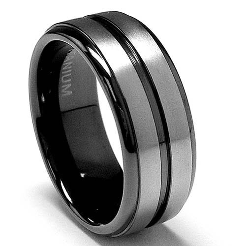8 MM High Polish and Matte Finish Black Titanium Wedding Band