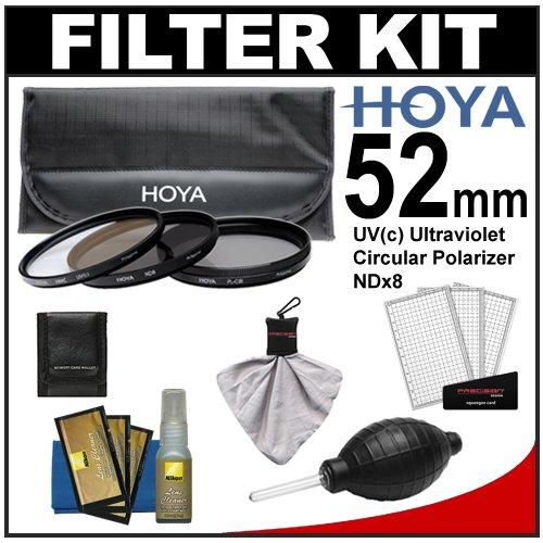 Hoya 52mm 3-Piece Digital Filter Set (HMC UV Ultraviolet, Circular Polarizer & ND8 Neutral Density) with Case + Nikon Cleaning Kit for Nikon 18-55mm VR AF-S, 24mm f/2.8, 28mm f/2.8, 35mm f/1.8 G, 50mm f/1.4 & f/1.8 D, 55-200mm G DX VR, 85mm f/3.5 VR, 105mm f/2.8 Micro Lens
