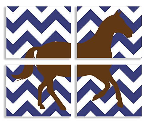 The Kids Room by Stupell Brown Horse Silouhette on Navy Blue Chevron 4-Pc Rectangle Wall Plaque Set