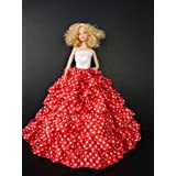 Red and White Barbie Sized Doll Gown with Small White Polka Dots Made to Fit the Barbie Barbie Sized Doll