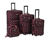 Rockland Luggage 4 Piece Luggage Set, Black/Pink Dot, One Size