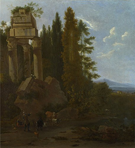 The High Quality Polyster Canvas Of Oil Painting 'Frederick De Moucheron A Landscape With Classical Ruins ' ,size: 12 X 13 Inch / 30 X 33 Cm ,this Beautiful Art Decorative Canvas Prints Is Fit For Powder Room Decoration And Home Artwork And Gifts