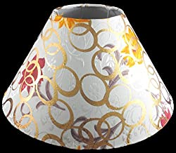 10 Round Cream with Golden Polka Dots with Flower Design Lamp Shade for Tabl...
